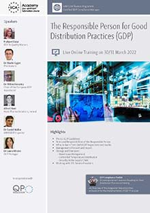 Live Online Training: The Responsible Person for Good Distribution Practice (GDP) Im Auftrag der ECA Academy